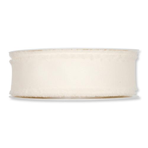 Cream Fabric Ribbon with Fringed Edges 35mm x 25m