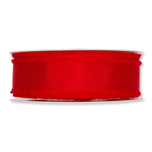 Red Fabric Ribbon with Fringed Edges 35mm x 25m