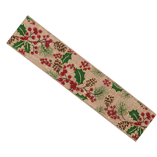 Natural Hessian Christmas Ribbon 63mm x 25m Red, Green and Gold Holly Motif