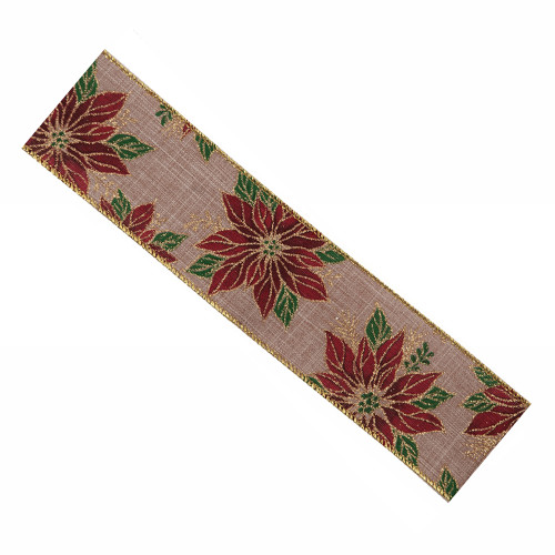 Natural Hessian Christmas Ribbon 63mm x 25m Red, Green and Gold Poinsettia Motif