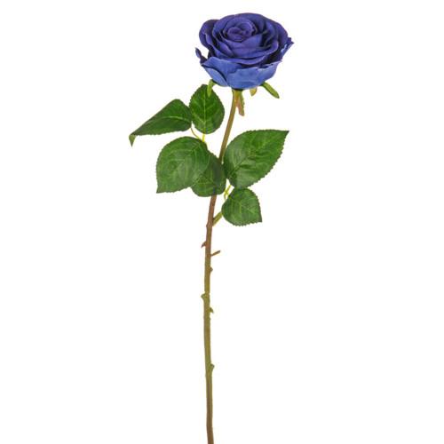 Rose Bud Artificial 44cm Dark Blue Pack of 3 Stems