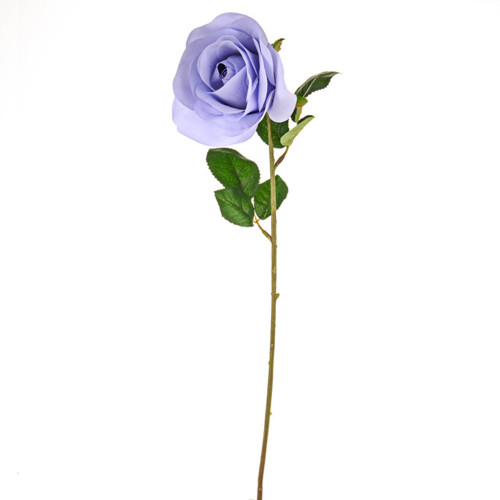 Open Rose Artificial 58cm Lilac Pack of 3 Stems