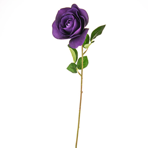 Open Rose Artificial 58cm Purple Pack of 3 Stems