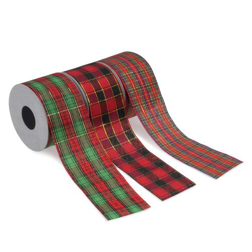 Tartan Christmas Ribbons 50mm Wide x 5m Pack of 3 Assorted Patterns