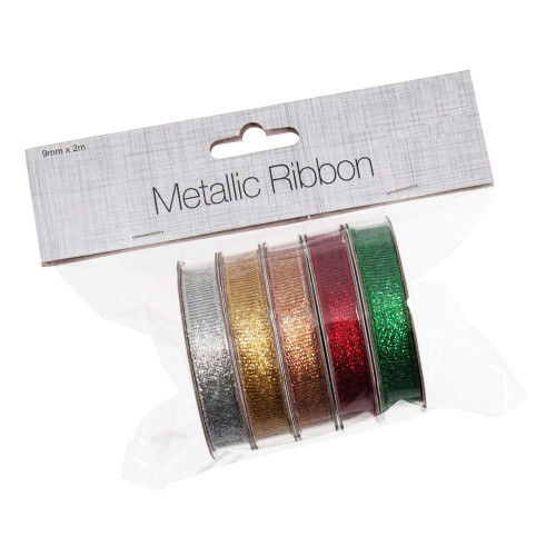 Ribbon Metallic 5 Pack Assorted 9mm x 2m Silver Gold Bronze Red Green