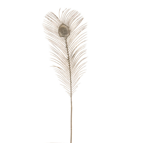 Large Glitter Peacock Feather Fern 65cm Pack of 3 Champagne
