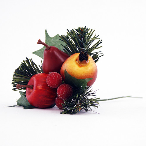 Fruit and Berry Christmas Pick 18cm (Pack of 6)