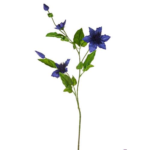 Clematis Spray Artificial Silk 79cm Dark Blue