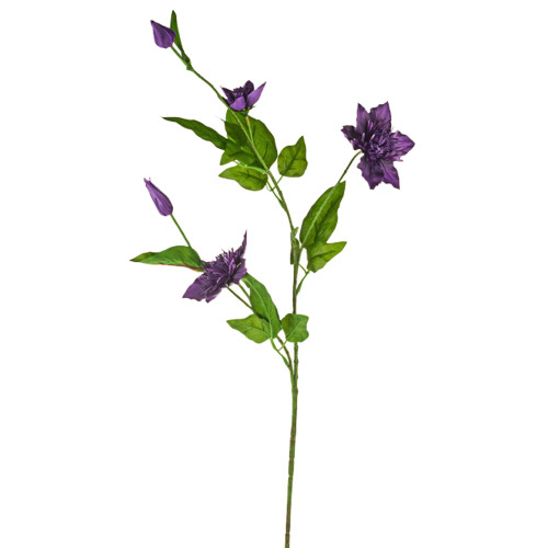 Clematis Spray Artificial Silk 79cm Purple