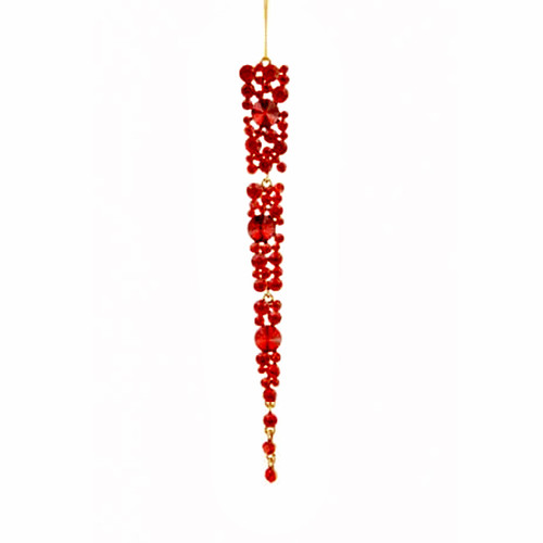Gem Icicle Christmas Tree Decoration 18cm Red
