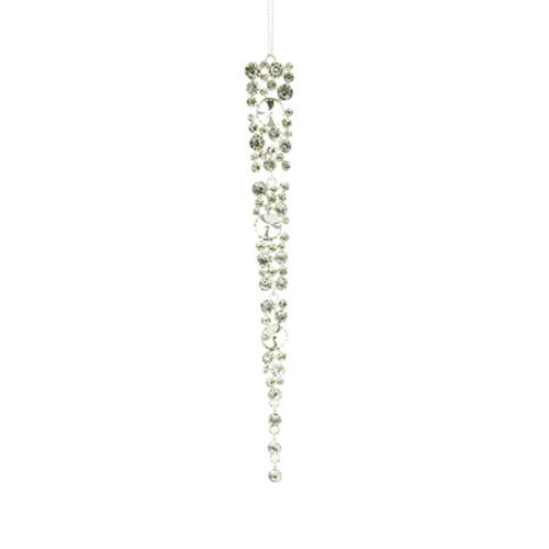 Gem Icicle Christmas Tree Decoration 18cm Silver
