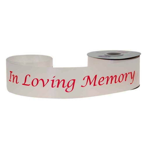 White Satin Ribbon 'In Loving Memory' Red 5cm/2 inches x 45m/50yards
