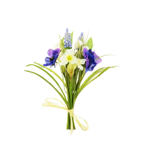 Mixed Spring Bundle Artificial Pansy, Snowdrops, Narcissi and Hyacinth