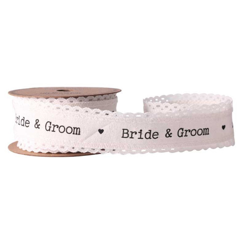 Bride & Groom Ivory Linen Ribbon 40mm x  4.5m
