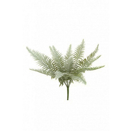 Frosted Winter Artificial Fern Bush 11 Fronds 52cm