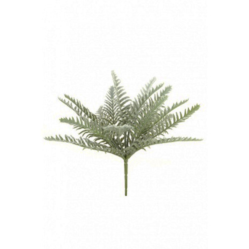 Frosted Winter Artificial Fern Bush  9 Fronds 32cm