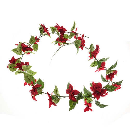 Poinsettia Christmas Garland Artificial 165cm Red