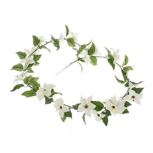 Poinsettia Christmas Garland Artificial 165cm White