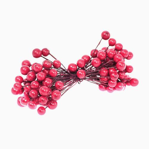 Berries Christmas Red 9mm 50 Stems x 2 (100 Berries)