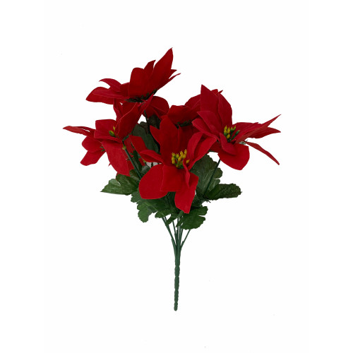 Velvet Artificial Poinsettia Bush 7 Heads Red