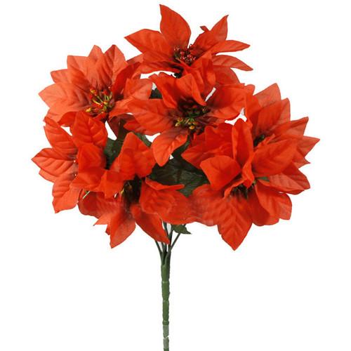 Poinsettia Bush Red Artificial 7 stem