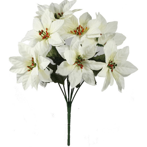 Poinsettia Bush White Artificial 7 stem
