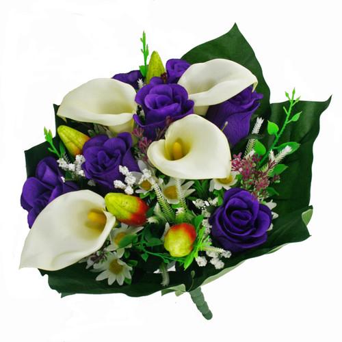 Mixed Bouquet Calla Rose 40cm Purple
