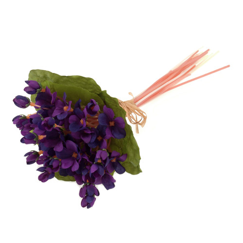 Violet Stems and Leaves Bunch 27cm Purple
