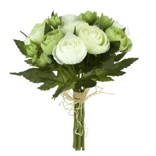 Ranunculus Posy 23cm Green White Artificial