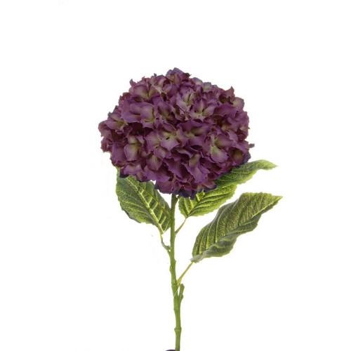 Hydrangea Single Stem Artificial Antique Purple 52cm