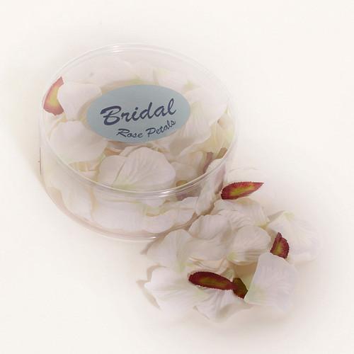 Silk Rose Petals White Green