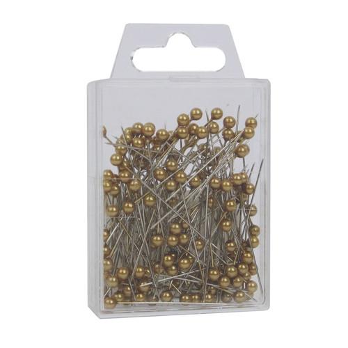 Pearl Head Pins 4cm Antique Gold