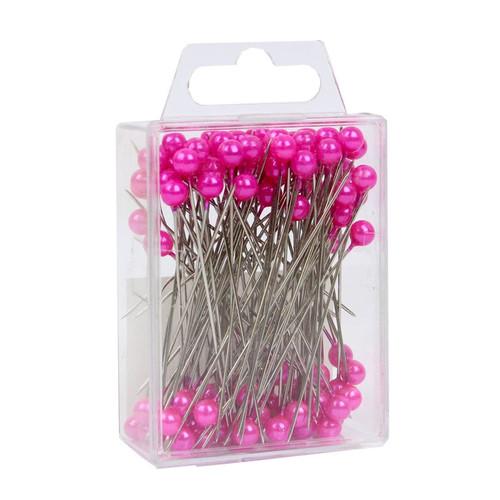 Pearl Head Pins 6cm Cerise Pink