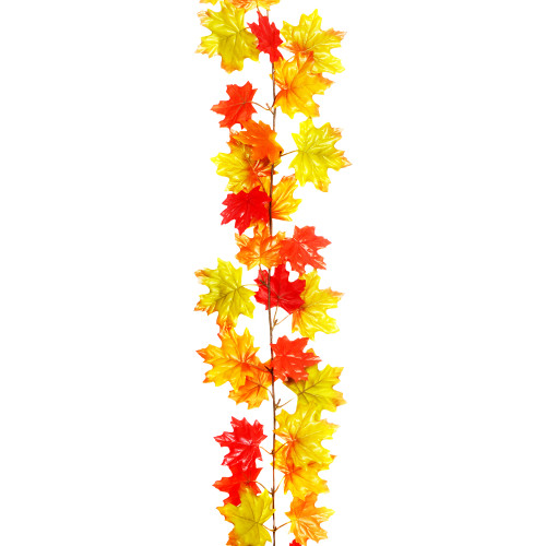 Autumn Artificial Maple Leaf Garland Orange Red 1.8m/6ft