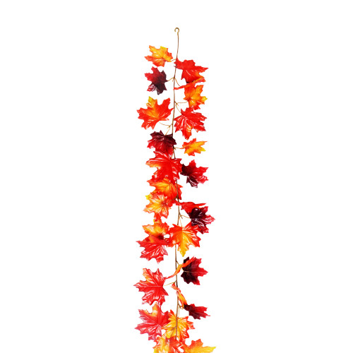 Autumn Artificial Maple Leaf Garland Red Brown 1.8m/6ft