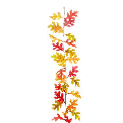 Autumn Artificial Oak Leaf Garland Orange Red 1.8m/6ft