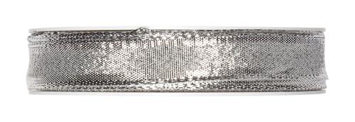 Metallic Silver Christmas Ribbon Fabric 15mm x25m