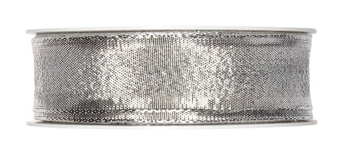 Metallic Silver Christmas Ribbon Fabric 25mm x25m