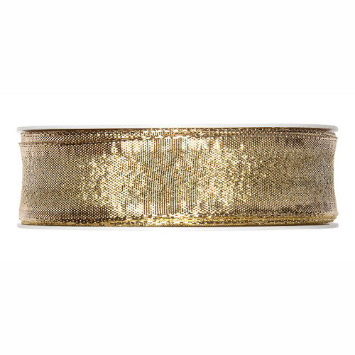Metallic Gold Christmas Ribbon Fabric 25mm x25m