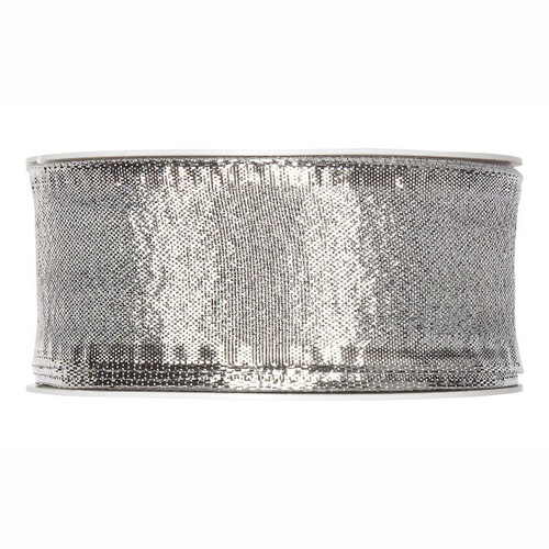 Metallic Silver Christmas Ribbon Fabric 40mm x25m