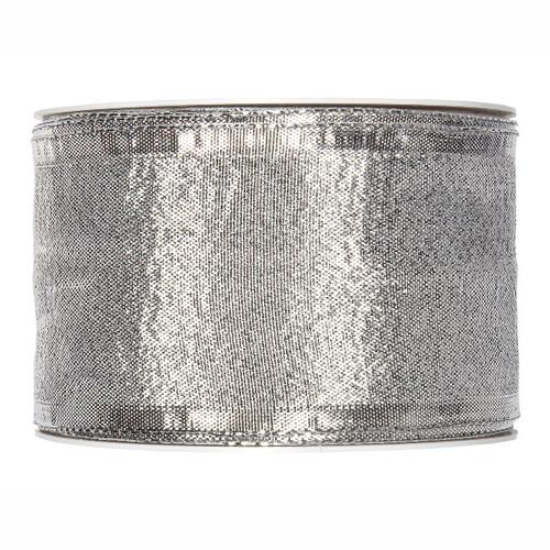 Metallic Silver Christmas Ribbon Fabric 60mm x25m