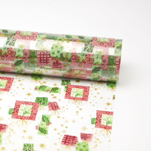 Cello Roll with Red, Green and Gold Christmas Designs 80cm x 100m