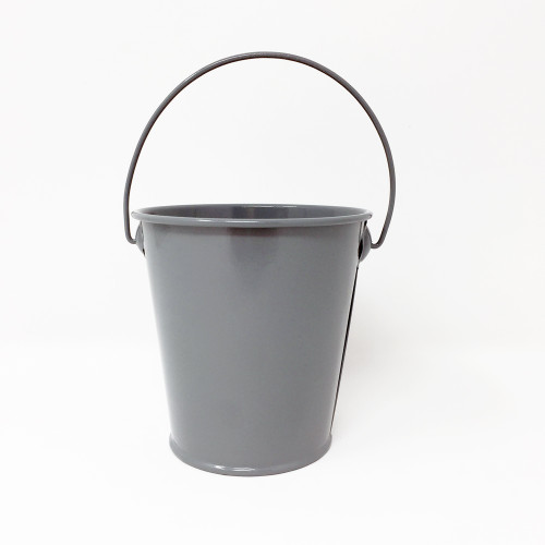 Metal Bucket Zinc 9cm Grey