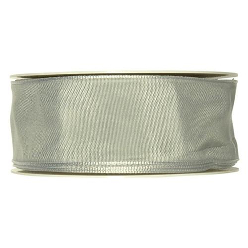 Fabric Ribbon 40mm x 25m Silver Grey