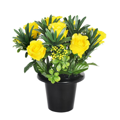 Grave Pot Artificial Open Rose With Berries 25cm Yellow
