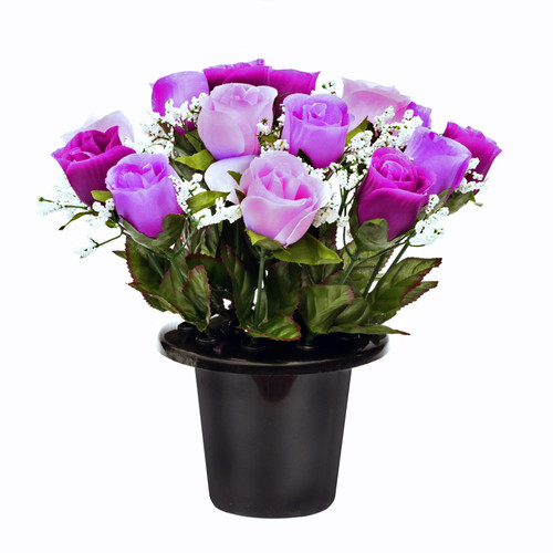 Grave Pot Roses Gyp Purple & Pink