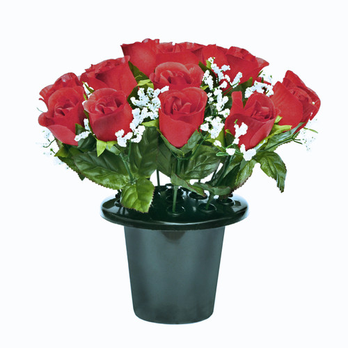 Grave Pot Roses Gyp Red
