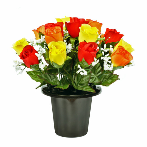 Grave Pot Roses Gyp Yellow, Red & Orange