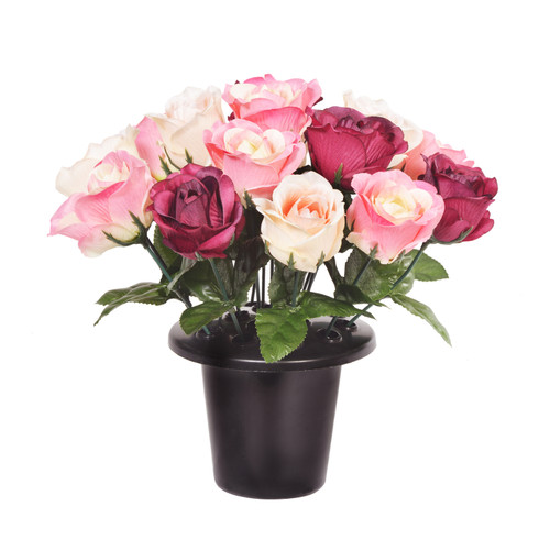 Grave Pot Open Rose Pink Burgundy Cream