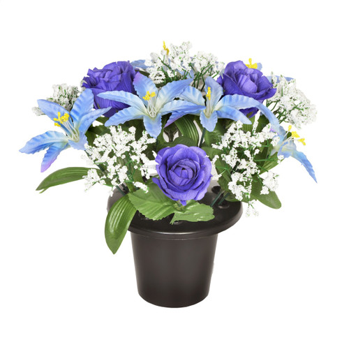 Grave Pot Blue Lily and Rose with White Gyp